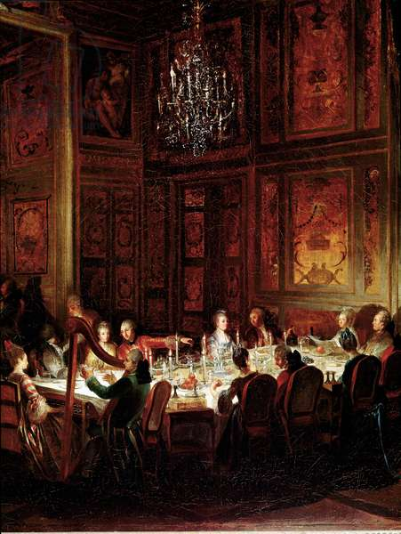 """Dinner of Prince Louis Francois de Conti, Palace of the Temple"""""""" Detail. Painting by Michel Barthelemy Ollivier (1712-1784) 1766 Sun. 0,56x0,71 Versailles, musee du chateau"""