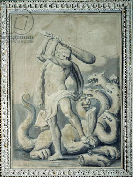 Hercules cuts off the seven heads of the Hydra, one of his twelve labours Painting by Gio Batta Celle (active around 1800-1809) 1805 Palazzo Ducale, Salone del Maggior Consiglio, Genes Italy
