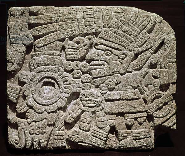 Precolombian art, mixed civilization: sculpted pectoral representing a richly dressed character - from Oaxaca, Mexico National Museum of Anthropology of Mexico City, Mexico