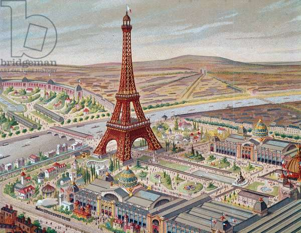Vue sur Paris et la Tour eiffel during l'Exposition universelle, 1889 - Lithography, detail 19eme century - Paris musee carnavalet - View of the Universal Exhibition with the different pavilions and the Eiffel Tower, 1889 - Colour lithograph, 19th century, detail - Carnavalet Museum, Paris (France)
