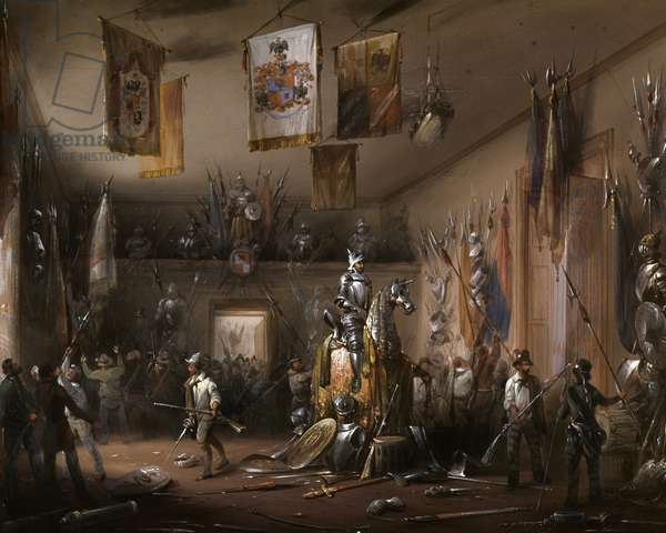 """Risorgimento: The Five Days of Milan (Cinque giornate di Milano) (18-22 March 1848): this is one of the first episodes of the Revolutions of 1848 (part of the First Italian War of Independence) that saw the rise of the Milanese population insurgent against the Austrian occupation of Josef Radetzky. """""""" The people demand weapons in the armory of Uboldi, Milanese noble"""""""""""" Painting by Carlo Bossoli (1815-1884) 1848 Milan, Museo del Risorgimento"""