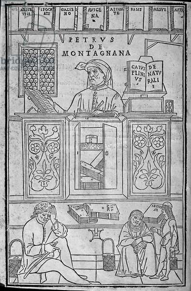 Portrait of Pietro da Montagnana, a Paduan medical teacher surrounded by Greek and Arabic medical books, and three patients waiting to have their urine examined.