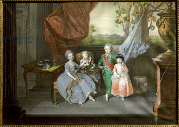 Portrait of Louis I of Etruria , with his sisters Caroline, Marie Antoinette and Charlotte, c.1780 (painting)
