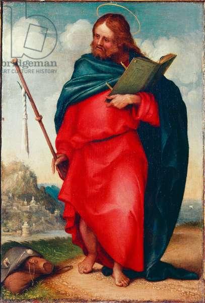 Representation of Saint James the Pelerin This is Saint James the Major or Saint James, son of Zebedee. Painting by Lorenzo Lotto (ca. 1480-1556) 1510-1512 Dim. 20x15 cm Recanati, Pinacoteca