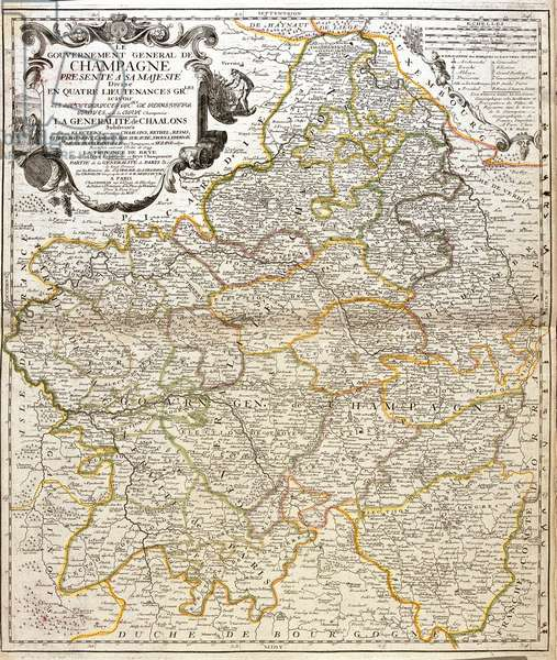 """Map of the military government of Champagne (France) - Engraving from the atlas le theatre du monde, 1717, by Jean Baptiste Nolin (1686-1762) - Map of Champagne (France) - From """""""" Le Theatre du Monde"""""""" 1717 by Jean-Baptiste Nolin"""