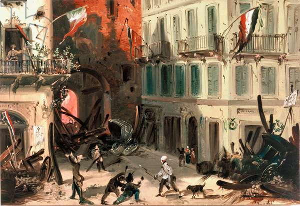 Revolutions of 1848, Five Days of Milan: barricades near Pusterla Beatrice gate on March 22nd (painting, 19th century)