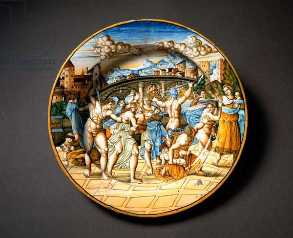 The massacre of the innocent. Ceramic plate produced in Urbino in the workshop Fontana, Italy. 1566 around Florence, Museo Nazionale del Bargello