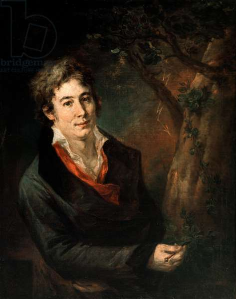 Portrait of the Italian poet and playwright Ugo Foscolo (1778-1827) Painting by Andrea Appiani (1754-1817), 19th century Sun. 88x72 cm Milan, Pinacoteca di Brera Italy - Portrait of the italian poet and playwright Ugo Foscolo (1778-1827). Painting by Andrea Appiani (1754-1817), 19th century, 88 x 72 cm, Pinacoteca di Brera, Milano, Italy