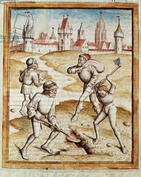 """The discovery of a treasor in the suburbs of a fortified town Miniature taken from a German translation of the fables of """"Kalila (Calila) and Dimna"""" by Bidpai. (ms. 1389, fol. 1) around 1480 Chantilly, museum Conde"""
