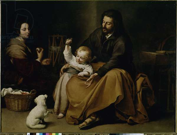 Holy Family of the Bird. Painting by Bartolome Esteban Murillo (1618-1682), oil on canvas, ca 1650, 144x188 cm. Madrid, Museo del Prado