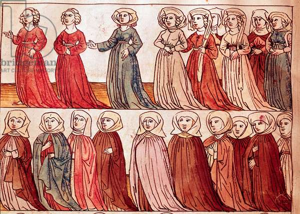 """Procession of women of Boheme. Miniature from """"Chronicles of the Council of Constance"""" by Ulrich Richental (1360-1437) 1438 approximately Prague, national library"""