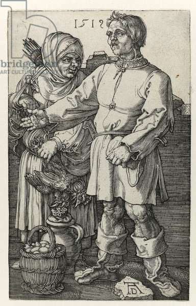Pair of villagers at the market, 1519 (lBurin engraving)