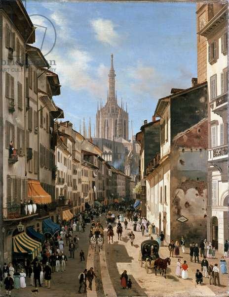 View over corsia dei Servi street (painting, c.1839)