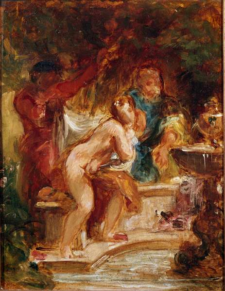 Suzanne in the bath. Painting by Eugene Delacroix (1798-1863), 1850. Oil on paper. Dim: 31x24,8cm. Reims, Museum of Fine Arts