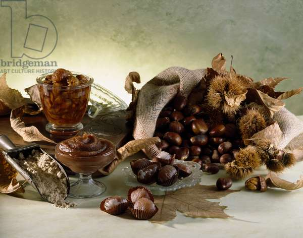 Still life with chestnuts, chestnut flour and cream