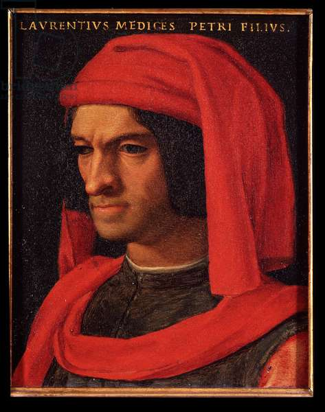 Portrait of Laurent the Magnificent (Lorenzo il Magnifico) (oil on copper)