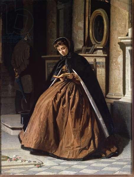 L'oraison (The prayer) A Woman Seated in Prayer - Painting by Giuseppe Abbati (1836-1868) (ec of the Macchiaioli) 1865 Dim 57 x 42 cm Florence, Palazzo Pitti Galleria d'Arte Moderna