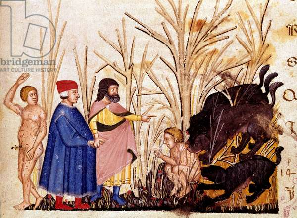 """Circle of Violents: Dante and Virgil meet the violent towards others. Illuminated page illustrating a song of Hell draws from the """"Divina Commedia"""" by Dante Alighieri (1265-1321). 14th century, Venice, Biblioteca Marciana"""