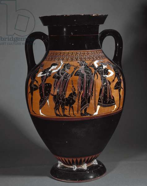 Attic amphora of black figures, attributed to the Painter of Chiusi,