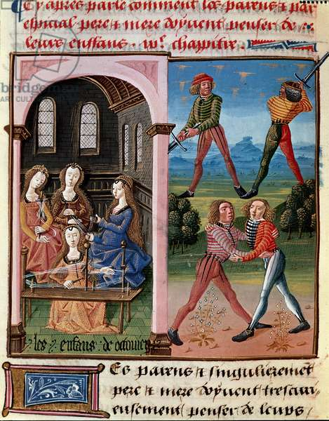 """How parents should think of their children; the children of Octavian learning chivalry and the work of wool"""""""" Miniature taken from """""""" Le livre de bonnes moreurs de Jacques Legrand"""""""""""", 1490 Chantilly, Musee Conde"""