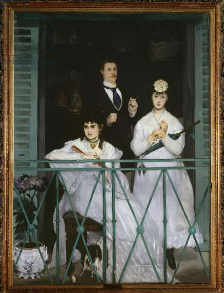 "The Balcony, 1868-9 (oil on canvas) - """" The balcony"""" Two young women holding a fan and an umbrella and a man with a tie - Portrait of Berthe Morisot (1841-1895), French painter, Fanny Claus (1846-1877), violinist, Antoine Guillemet (1841-1918) landscaper and background Leon Leenhoff - Painting d'Edouard Manet (1832-1883) 1868-1869 Dim 170x124.5 cm Paris, Musee d'Orsay"