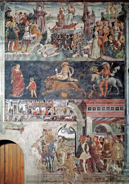 """Allegory of the month of April At the top the triumph of venus, in the center the decans of the bull, at the bottom Borso d'Este (1413-1471) rewards the scocola jester"""""""" (Allegory of april, the triumph of Venus, the decans of taurus, Borso d'Este rewarding Scocola the jester) detail - fresco by Francesco del Cossa (ca. 1478) Ferrara (Ferrara) Palazzo Schifanoia, Salone dei Mesi"""