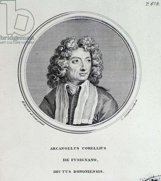 Portrait of Arcangelo Corelli (1653-1713) italian composer and violinist Engraving. 18th century Bologna, civico museo bibliografico