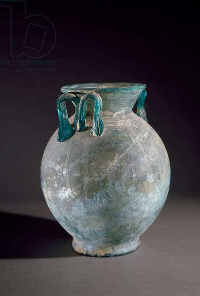 Roman art: glass vase with handle. From Pompei, Italy. Museo Archeologico Nazionale Naples
