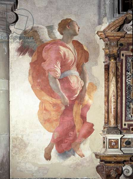 Annunciation. Detail of the Angel - Fresco, 16th century