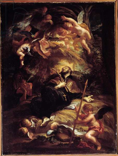 The Death of Saint Francois Xavier (Francois-Xavier) (1506-1552), Spanish Jesuite Missionary (The Death of St Francis Xavier) Painting by Domenico Piola (1627-1703) Genes, Musei di Strada Nuova (ex Palazzo Bianco)
