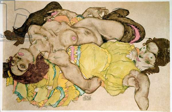 Curved women. Drawing by Egon Schiele (1890-1918), 1915 Pencil and tempera on paper, Dim: 32,8x49,7cm. Vienna, Graphische Sammlung Albertina