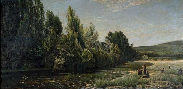 The banks of the river Bormida, Italy (oil on canvas, 19th century)