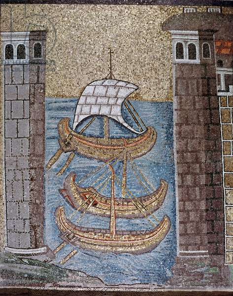 "Byzantine art: view of boats in the port of Classe - detail of the lateral mosaics of the central nave, 6th century - Basilica of Sant'Apollinare nuovo (Saint Apollinaire le Neuf or Basilica of Saint Apollinaire-le-Neuf) in Ravenna, Italy - """" view of boats in the harbour of Classe"""""" Detail of mosaics, 6th century - Basilica of Sant'Apollinaire of Sant'Apollinaire of Sant'Apollinaire Linare Nuovo Ravenna"