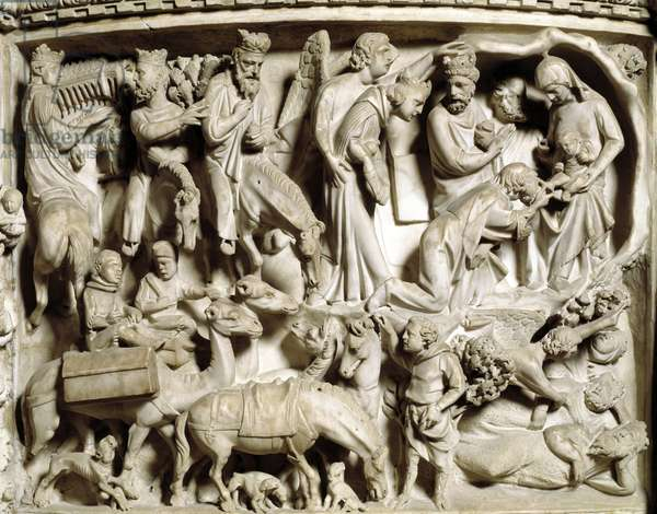 Detail of the reliefs of the Chair realised by Giovanni Pisano (1248-1314): the voyage and the adoration of the Magi (Detail of the reliefs of the marble pulpit, the travel and the adoration of the magi) 1302-1311 Cathedrale of Pisa (Duomo di Pisa), Italy
