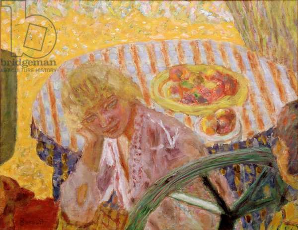 Young Women in the Garden or the Striped Tablecloth Painting by Pierre Bonnard (1867-1947) 1921-1923 Private Collection