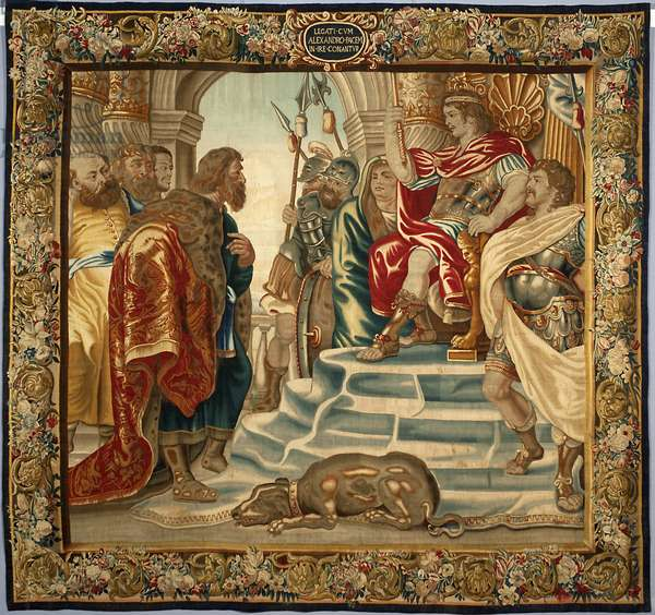 King Alexander the Great received a delegation from Athens. Tapestry made in the manufactures of Brussels. 16th century Genes, Musei di Strada Nuova