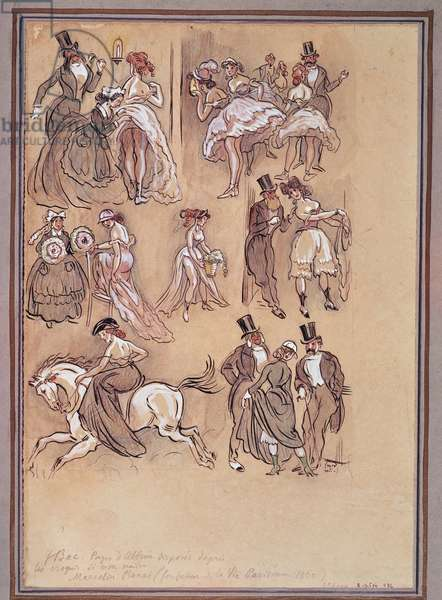 Second French Empire: fashion plate for dancers, rider and elegant gentlemen (engraving)