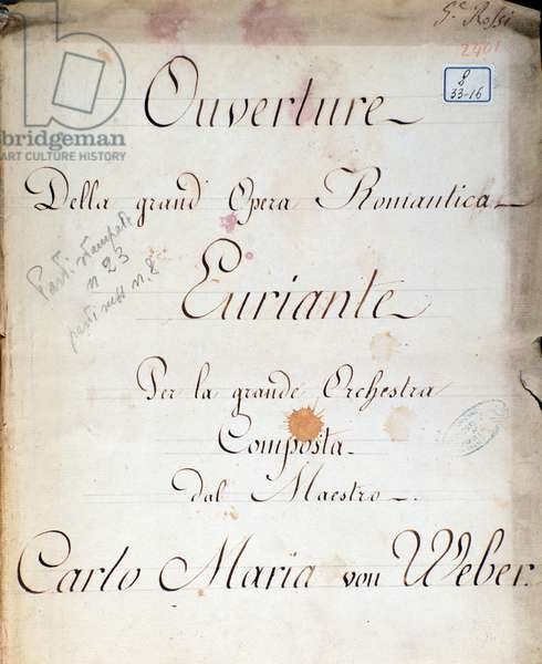 Frontispiece from the opera 'Euryanthe' by Carl von Weber (litho)
