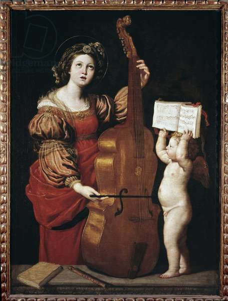 St Cecilia with an angel holding a score (oil on canvas, 17th century)