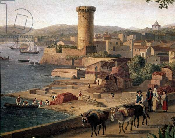 Landscape of Gaeta (Gaete) with brick factory Detail. Painting by Jacob Philipp Hackert dit Hackert d'Italie (1737-1807) End of the 18th century Naples, Museo Nazionale di San Martino