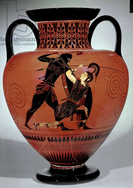 Greek Art: Attic amphora with black figures depicting Achilles killing the Amazon Queen Penthesilee (540-530 BC) from Montalto di Castro.Vulci. Italy and realizes in Athenes. London. The British Museum