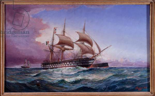 Italian ship of the line Re Galantuomo (oil on canvas, 19th century)