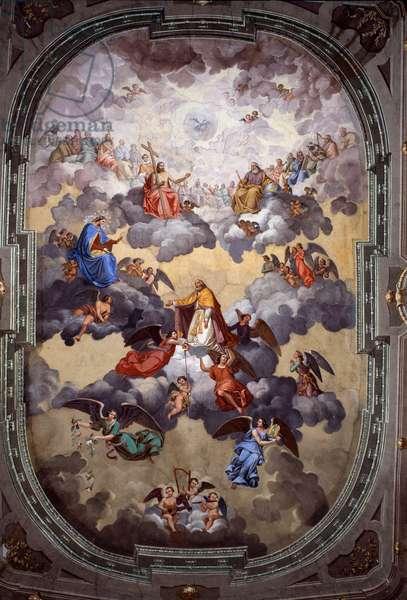 Heaven, St Nicolo asking intercession of Madonna del Soccorso (Fresco, 1867)
