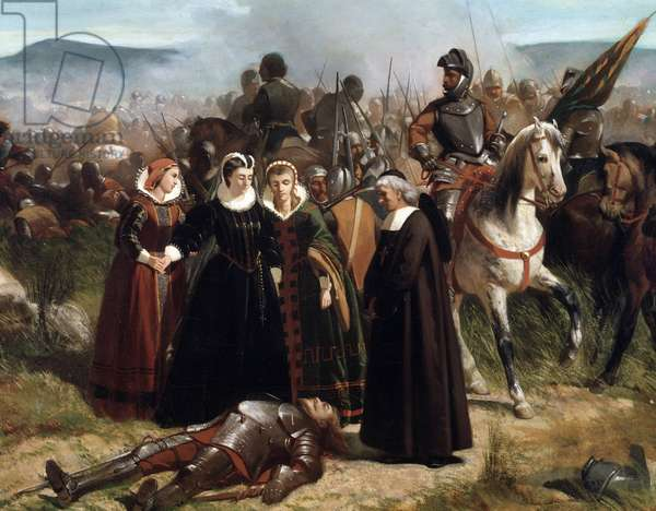 Queen Mary Stuart on the battlefield of Crookston representation of the Battle of Langside near Glasgow on 13 May 1568 opposing Queen Mary Iere with regent her half-brother James Stuart (Mary Queen of Scots, at the Battle of Langside, fought on 13 May 1568) - Painting by Giovanni Fattori (1825-1908), 1861, Detail, Dim 76x108 cm - Florence, azzo Pitti Galleria D'Arte Moderna