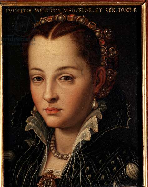 Portrait of Lucrezia de Medici (or Lucrezia di Cosimo de Medici or Lucrece de Medici) (1545-1561) Painting by Allori Angelo di Cosimo dit Bronzino (1503-1572) - 16th century Dim 15x12 cm Palace Medici-Riccardi (Medici Riccardi) Florence