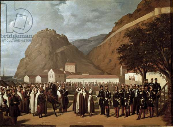 Conquete of Algeria (1830-1847): the submission of Abd el Kader (Abd-el-Kader or ibn Muhyi al-Din al-Hasani (al Din al-Hasani) (1808-1883) to the Duke of Aumale and the French Armee on 24/12/1847 - Painting by Regis Augustin (1813-1880) 19th century Muscle Sun 0,41x0,56 m ee conde Chantilly