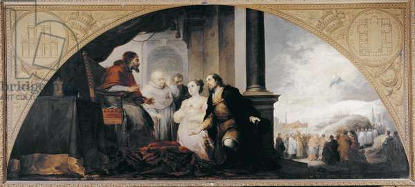 The foundation of Santa Maria Maggiore (Basilica of Santa Maria Maggiore). Patrician John and his wife revealed to Pope Libere (Liberius) of Rome (pope of 352-366) accompanied by 2 ecclesiastics their dream. Painting by Bartolome Esteban Murillo (1617-1682), 1665. Oil on canvas. Prado Museum.