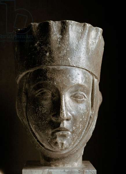 Gothic art: woman's head with a turret. Limestone sculpture from the cathedral of Reims. 12th century. Paris, Louvre Museum
