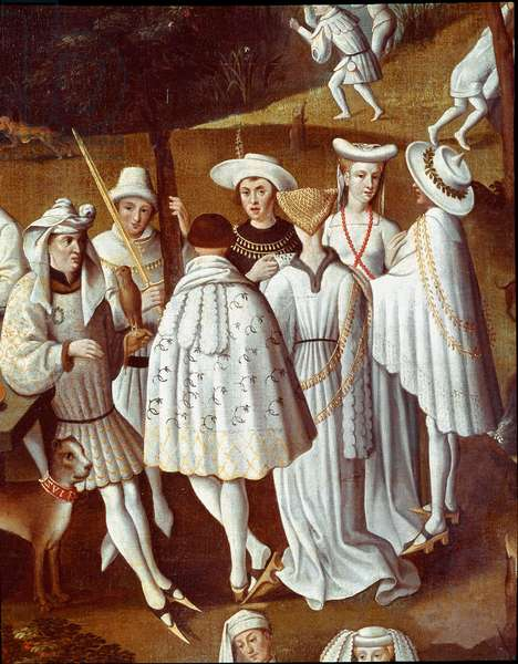 Garden of love at the court of Philip III the Good, Duke of Burgundy (Celebration of the wedding of his chamberlain Andre de Toulongeon, in the castle of Hedin, 1432). Detail. 17th century (painting)