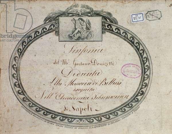 """Frontispiece detail of """"Sinfonia in mi bemolle maggiore : dedicata alla memoria di Bellini"""" by Gaetano Donizetti (1797-1848)."""
